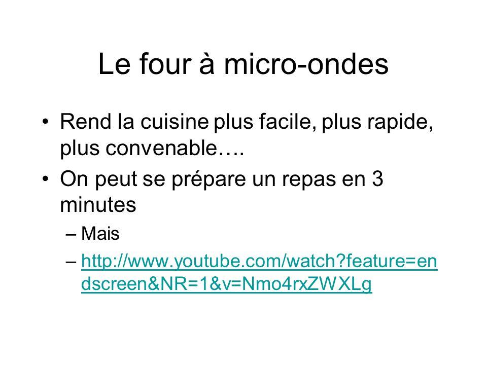 Le four à micro-ondes Rend la cuisine plus facile, plus rapide, plus convenable….