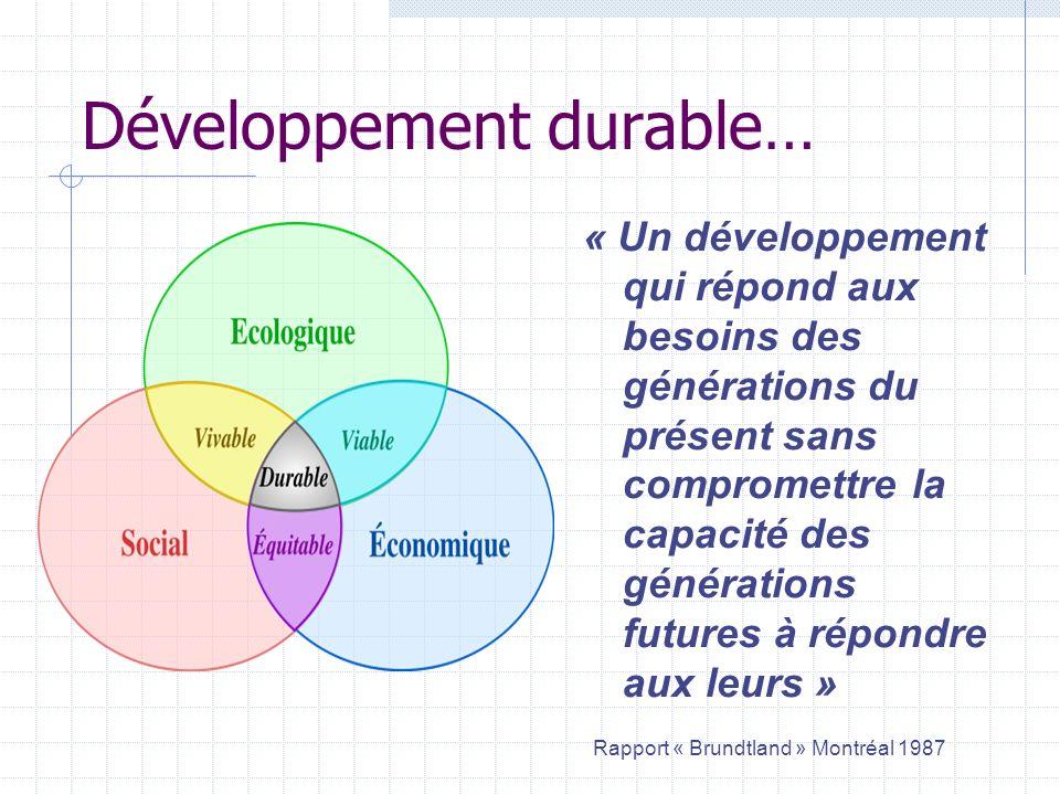 Développement durable… « Un développement qui répond aux besoins des générations du présent sans compromettre la capacité des générations futures à ré