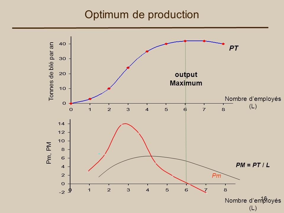 16 Tonnes de blé par an PT Pm Nombre demployés (L) Nombre demployés (L) Optimum de production Pm, PM PM = PT / L output Maximum