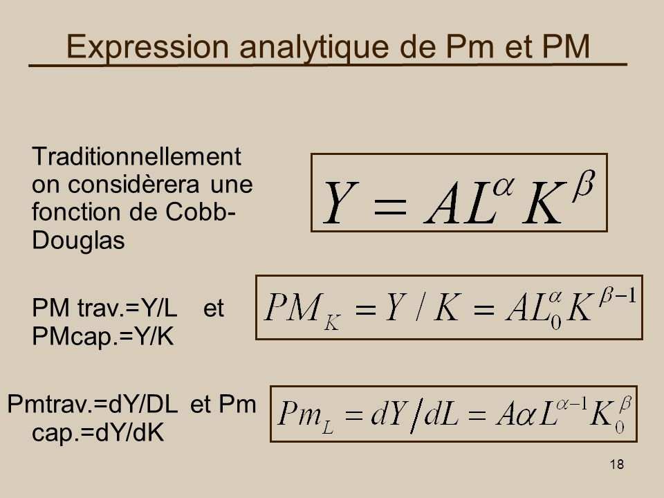 18 Expression analytique de Pm et PM Traditionnellement on considèrera une fonction de Cobb- Douglas PM trav.=Y/L et PMcap.=Y/K Pmtrav.=dY/DL et Pm ca