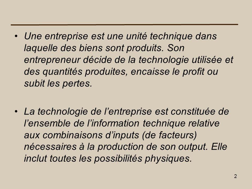 23 Le choix de la meilleure technologie de production Le choix de la meilleur technologie de production se fera en fonction du coût de production associée à cette technologie.