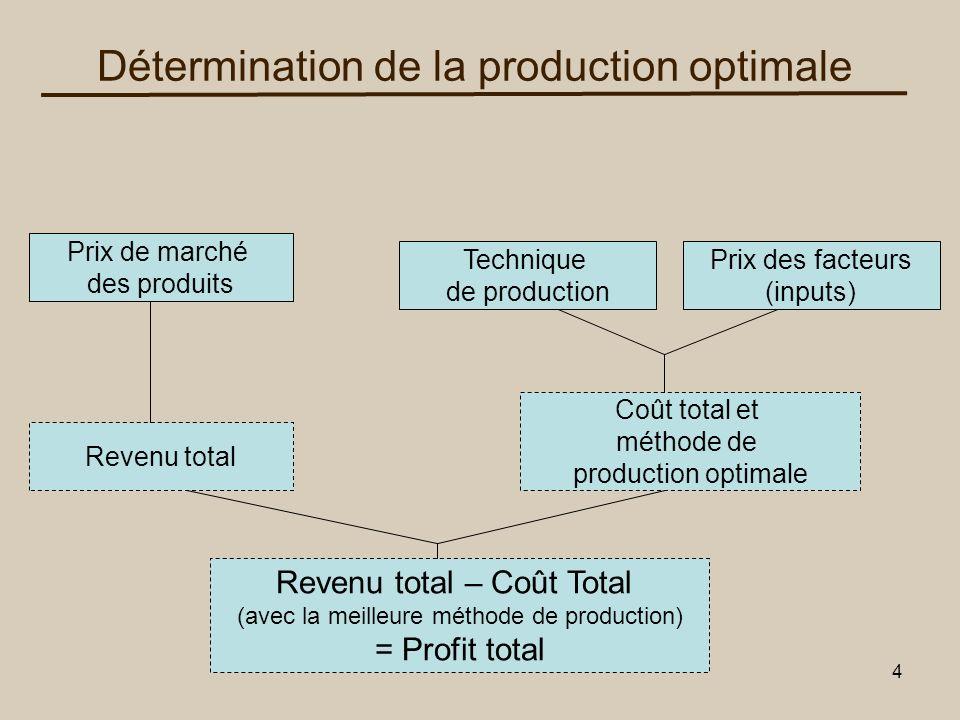 5 La fonction de production La fonction de production est la relation entre la quantité de facteurs de production et la quantité produite pour une technologie donnée Y=F(f 1, f 2,…,f 4 )