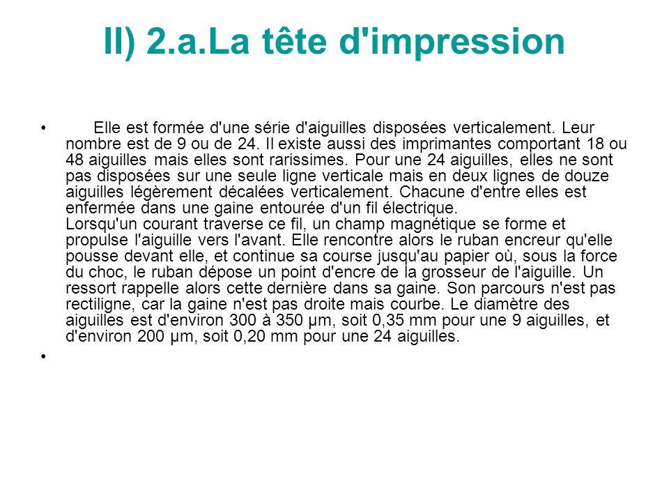 II) 2.a.La tête d impression Elle est formée d une série d aiguilles disposées verticalement.