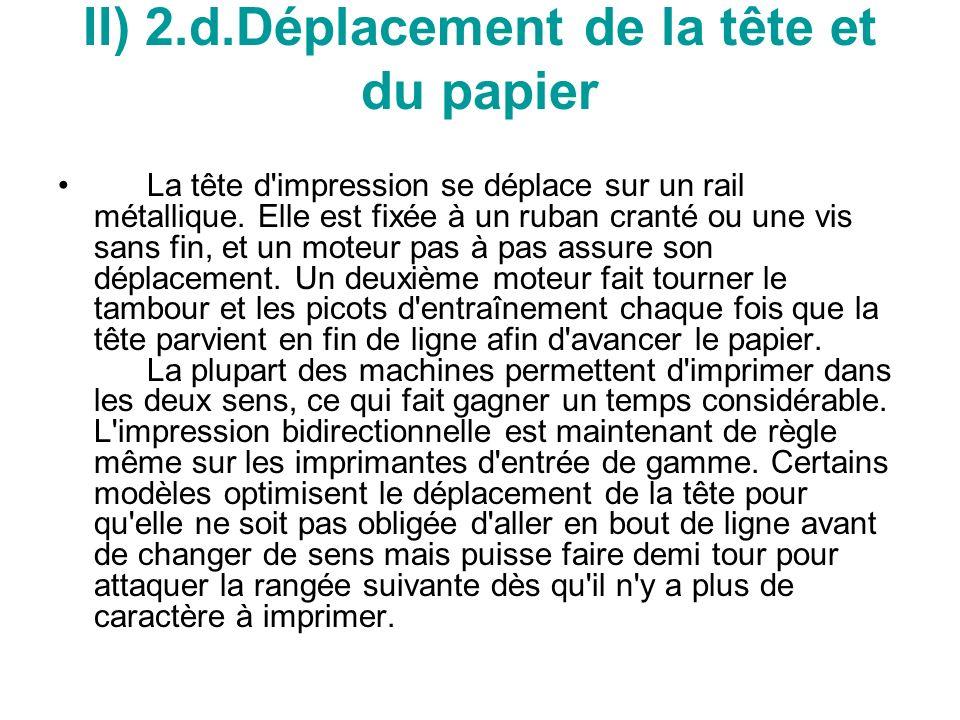 II) 2.d.Déplacement de la tête et du papier La tête d impression se déplace sur un rail métallique.