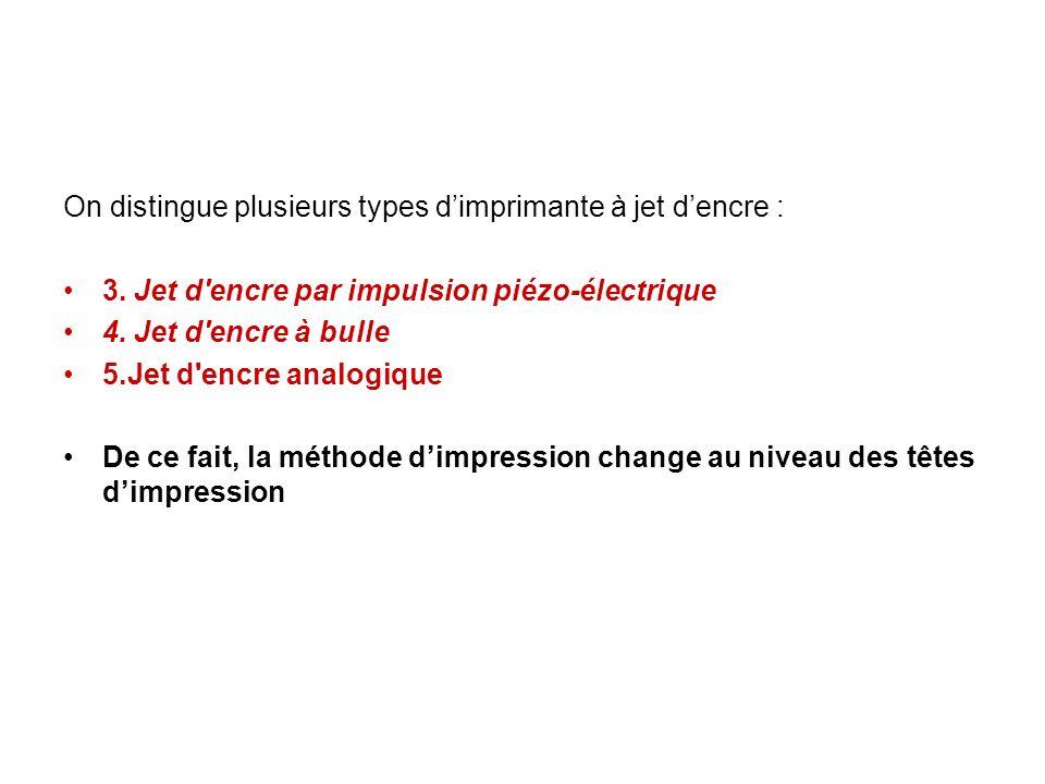 On distingue plusieurs types dimprimante à jet dencre : 3.