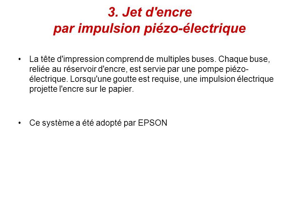 3.Jet d encre par impulsion piézo-électrique La tête d impression comprend de multiples buses.