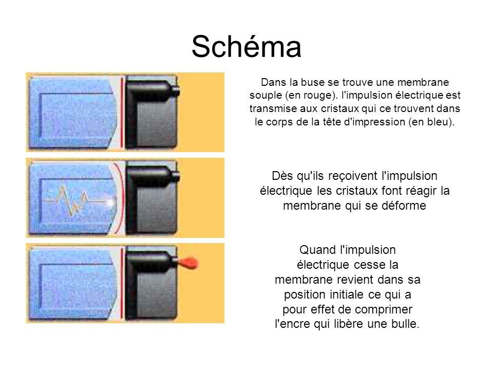 Schéma Dans la buse se trouve une membrane souple (en rouge).