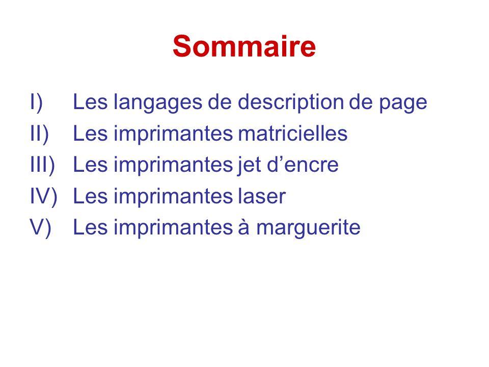 Sommaire I)Les langages de description de page II)Les imprimantes matricielles III)Les imprimantes jet dencre IV)Les imprimantes laser V)Les imprimantes à marguerite