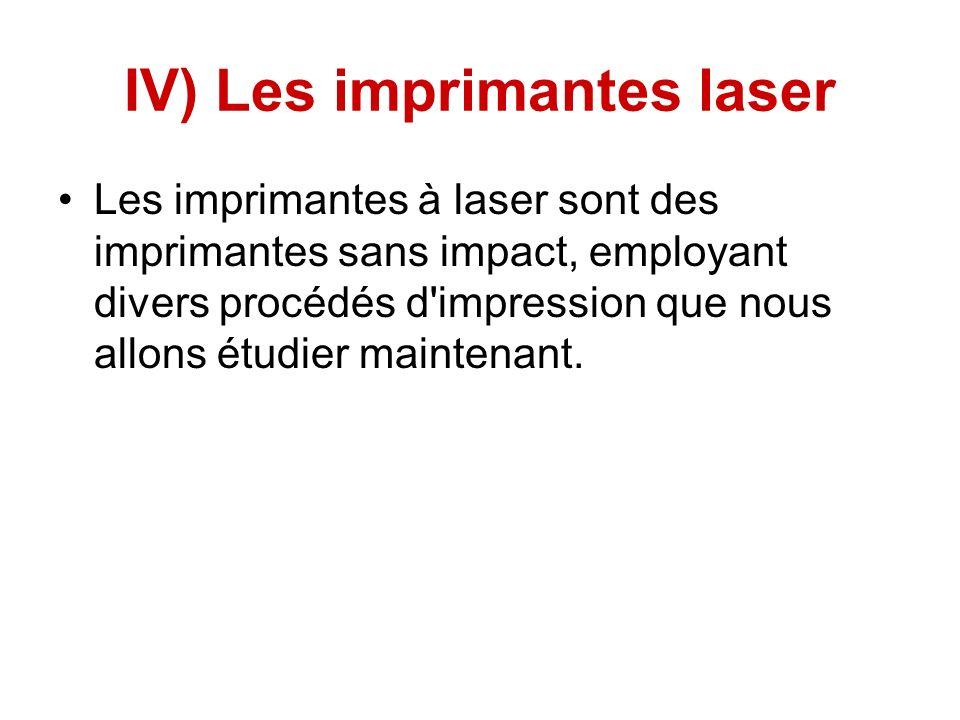IV) Les imprimantes laser Les imprimantes à laser sont des imprimantes sans impact, employant divers procédés d impression que nous allons étudier maintenant.