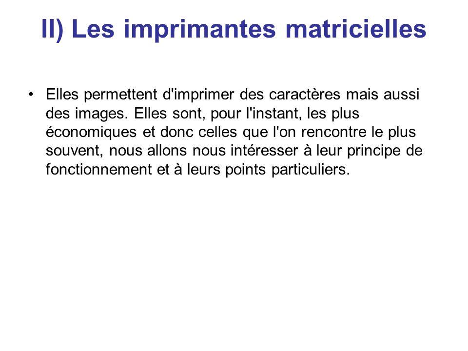 II) Les imprimantes matricielles Elles permettent d imprimer des caractères mais aussi des images.