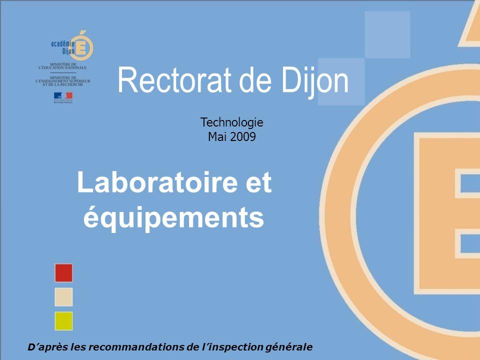 Laboratoire et équipements Novembre 2008 – Présentation des nouveaux programmesNovembre 2008 – Présentation des nouveaux programmes Daprès les recommandations de linspection générale Technologie Mai 2009