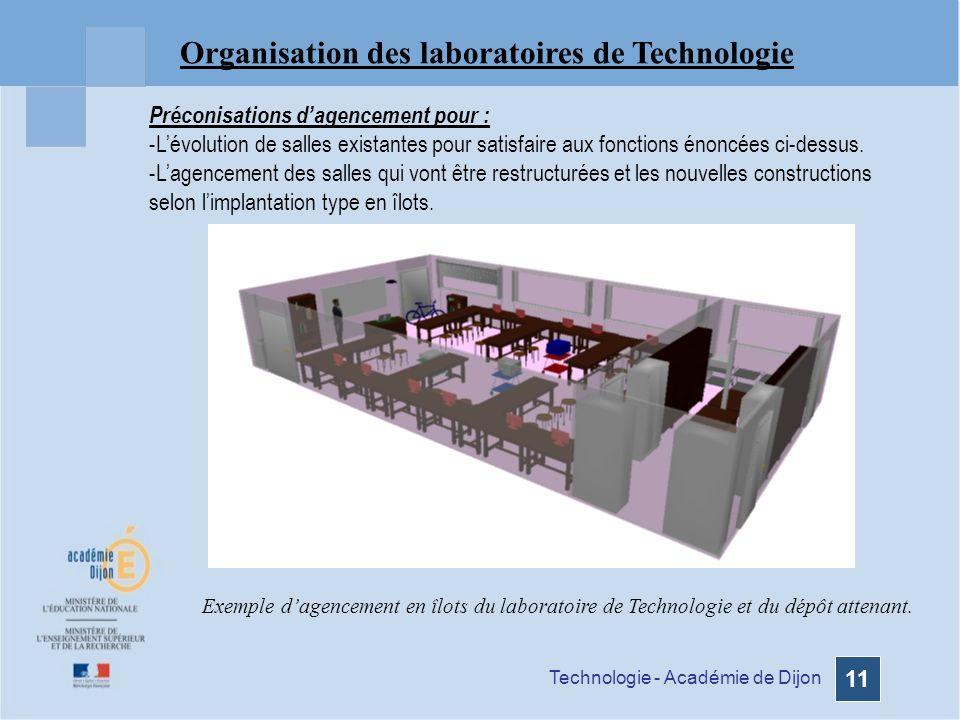Technologie - Académie de Dijon 11 Organisation des laboratoires de Technologie Exemple dagencement en îlots du laboratoire de Technologie et du dépôt attenant.