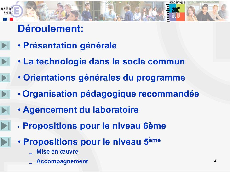 2 Déroulement: Présentation générale La technologie dans le socle commun Orientations générales du programme Organisation pédagogique recommandée Agen