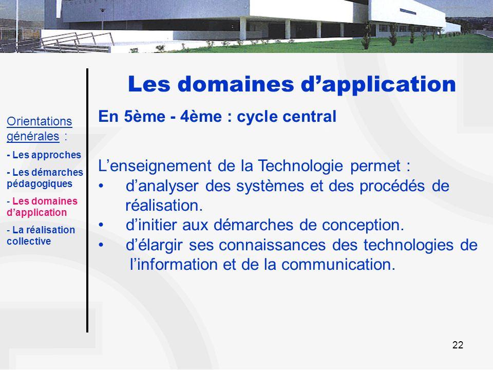 22 Les domaines dapplication En 5ème - 4ème : cycle central Lenseignement de la Technologie permet : danalyser des systèmes et des procédés de réalisa