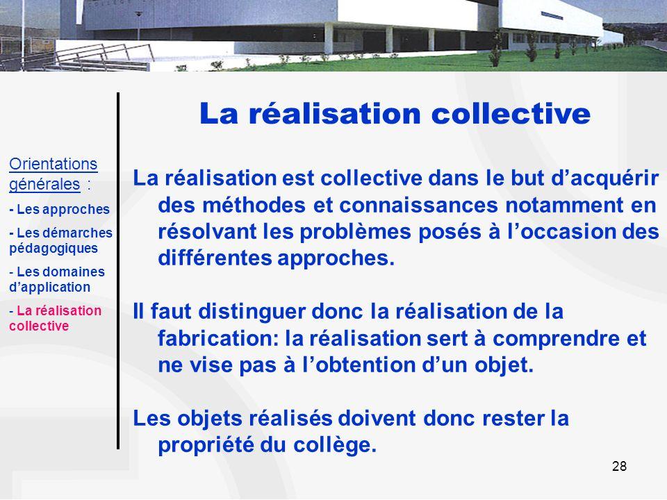 28 La réalisation collective La réalisation est collective dans le but dacquérir des méthodes et connaissances notamment en résolvant les problèmes po