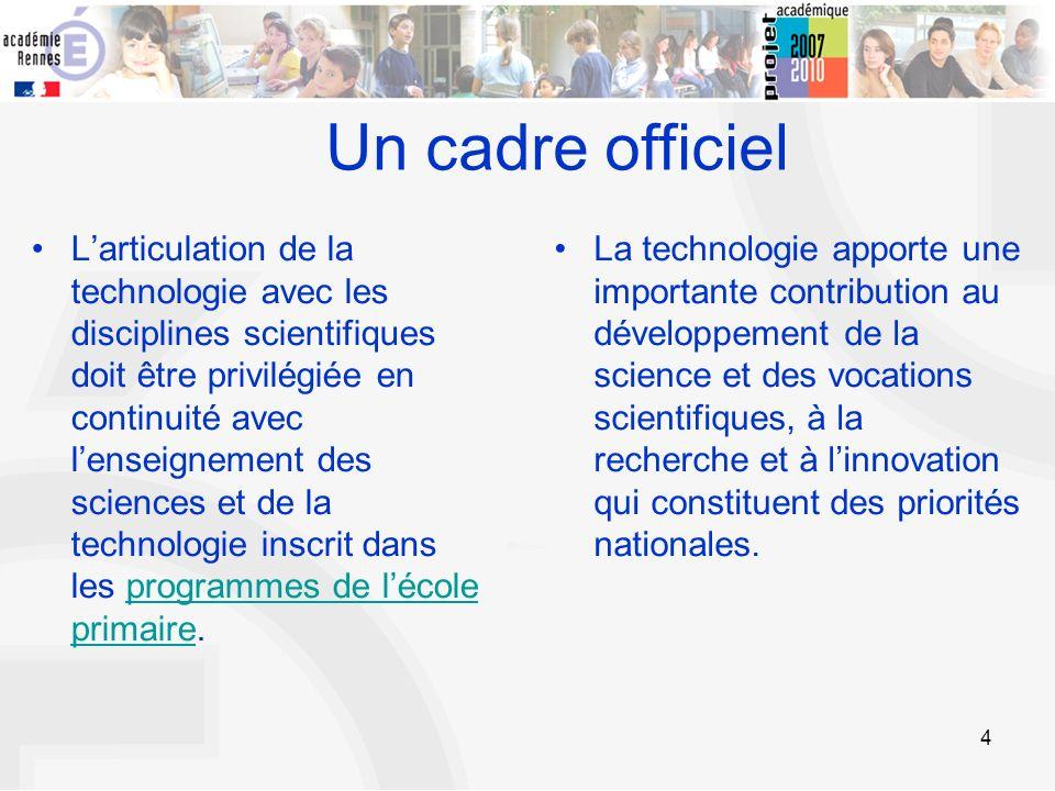 4 Larticulation de la technologie avec les disciplines scientifiques doit être privilégiée en continuité avec lenseignement des sciences et de la tech