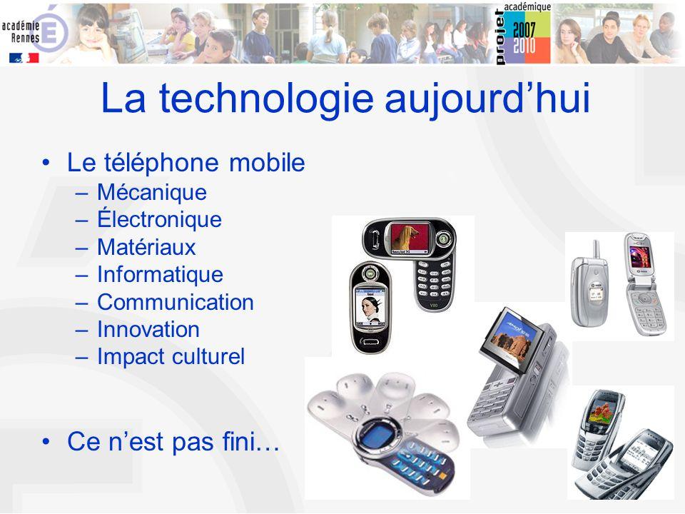 5 La technologie aujourdhui Le téléphone mobile –Mécanique –Électronique –Matériaux –Informatique –Communication –Innovation –Impact culturel Ce nest