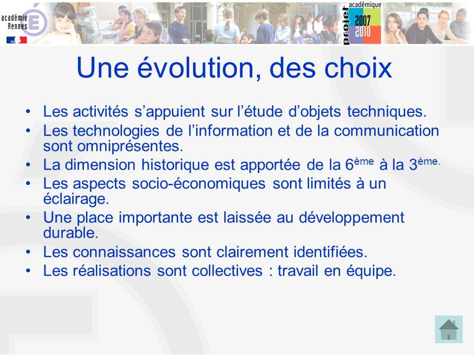 6 Une évolution, des choix Les activités sappuient sur létude dobjets techniques. Les technologies de linformation et de la communication sont omnipré