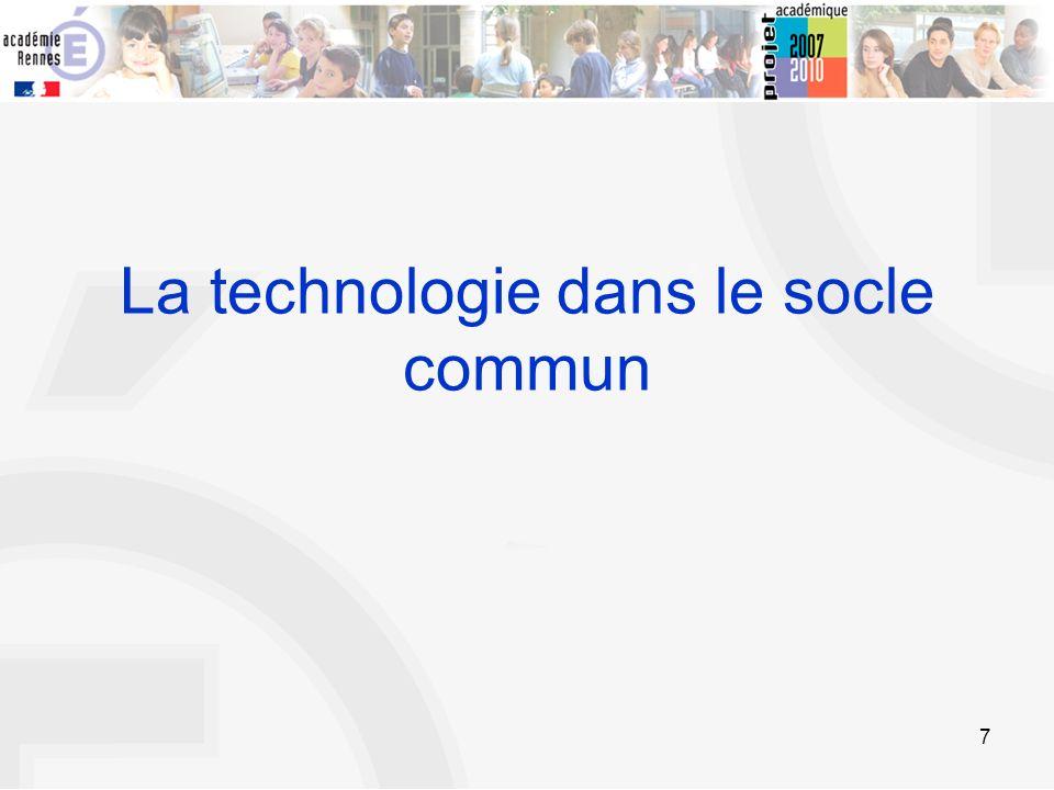 7 La technologie dans le socle commun
