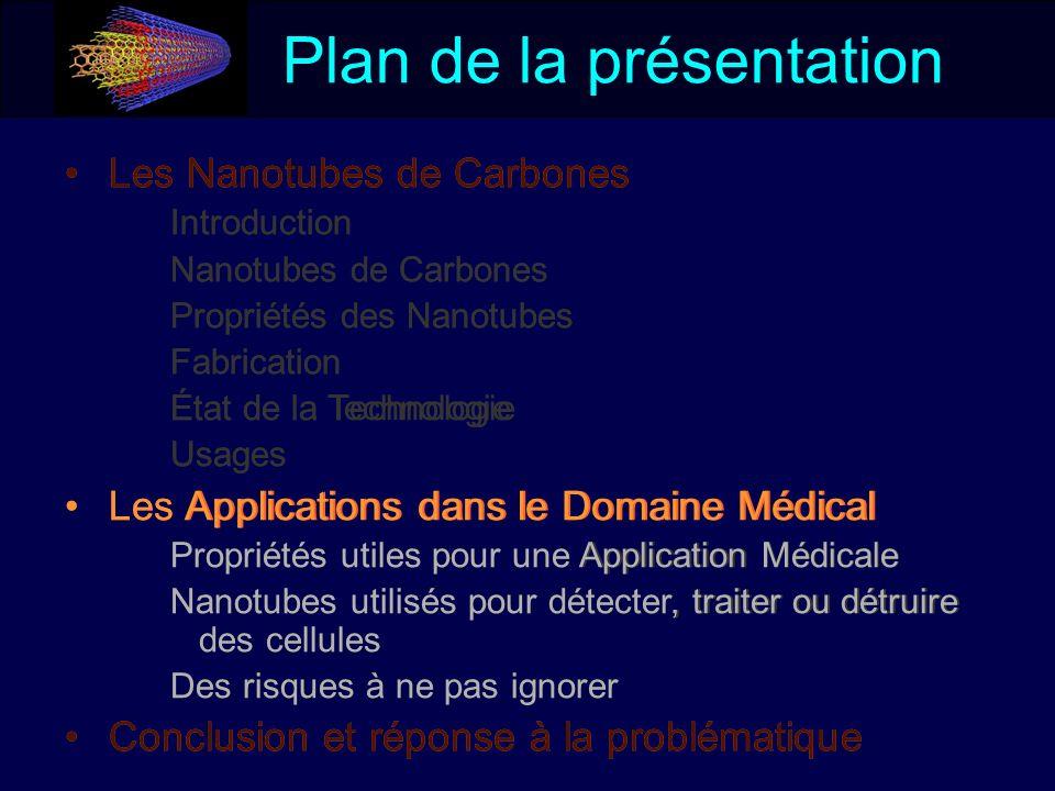 Plan de la présentation Les Nanotubes de Carbones Introduction Nanotubes de Carbones Propriétés des Nanotubes Fabrication État de la Technologie Usage