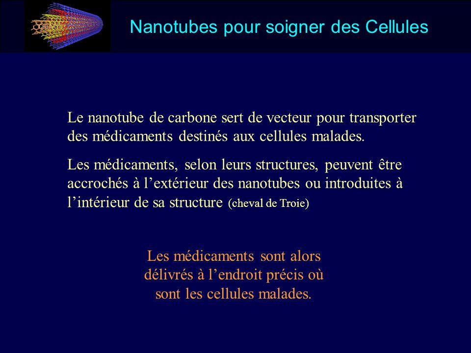 Nanotubes pour soigner des Cellules Le nanotube de carbone sert de vecteur pour transporter des médicaments destinés aux cellules malades. Les médicam