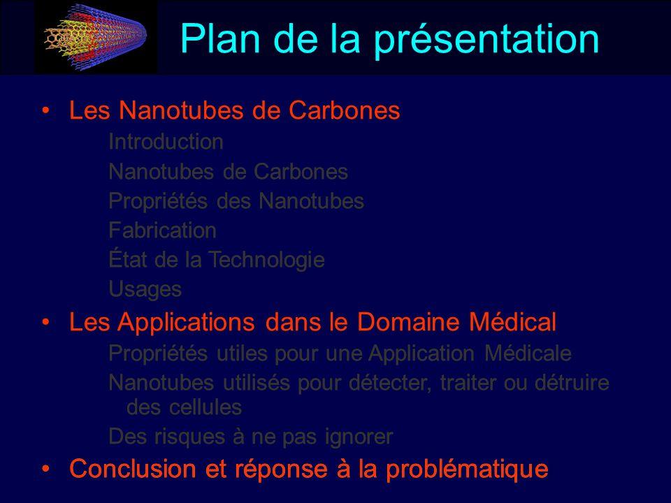 Les Nanotubes de Carbones Introduction Nanotubes de Carbones Propriétés des Nanotubes Fabrication État de la Technologie Usages Les Applications dans