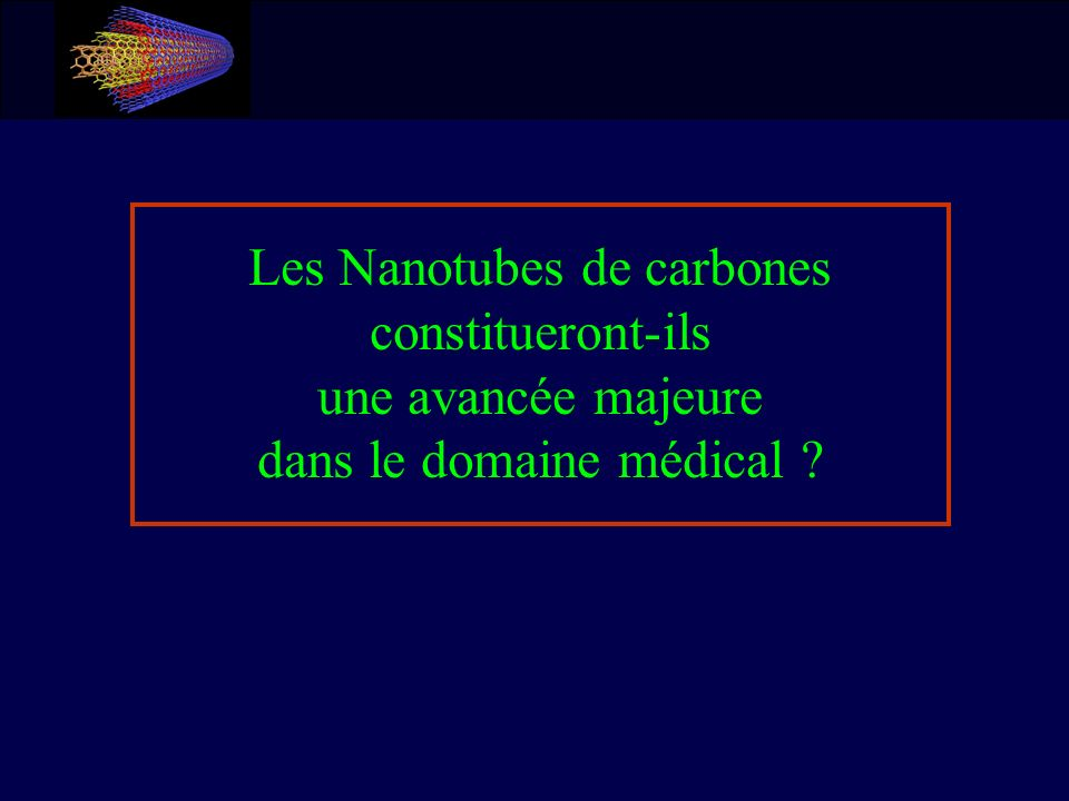 Plan de la présentation Les Nanotubes de Carbones Introduction Nanotubes de Carbones Propriétés des Nanotubes Fabrication État de la Technologie Usages Les Applications dans le Domaine Médical Propriétés utiles pour une Application Médicale Nanotubes utilisés pour traiter des Cellules Risques à ne pas ignorer Conclusion et réponse à la problématique Les Nanotubes de Carbones Introduction Nanotubes de Carbones Propriétés des Nanotubes Fabrication État de la Technologie Usages Les Applications dans le Domaine Médical Propriétés utiles pour une Application Médicale Nanotubes utilisés pour traiter des Cellules Risques à ne pas ignorer Conclusion et réponse à la problématique