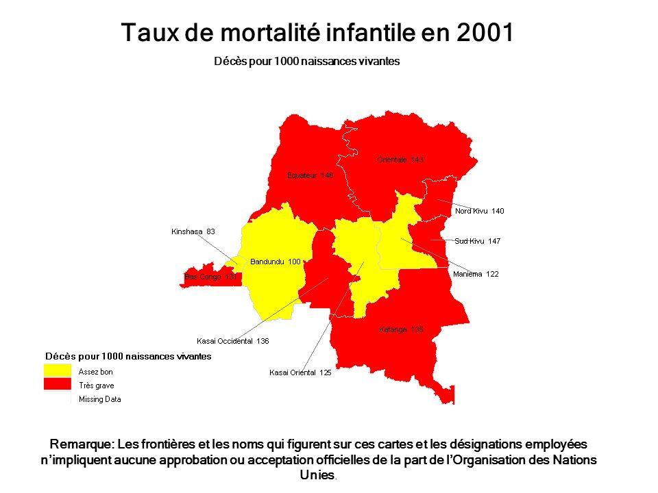 Taux de mortalité infantile en 2001 Décès pour 1000 naissances vivantes Remarque: Les frontières et les noms qui figurent sur ces cartes et les désign