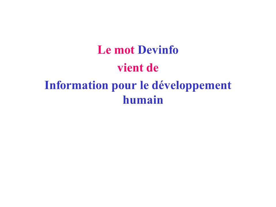 DEFINITION DE DEVINFO Système de gestion de bases de données des indicateurs pour le suivi du développement humain.