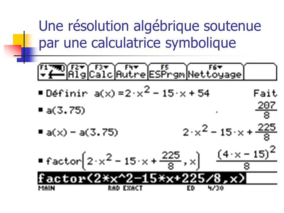 Une résolution algébrique soutenue par une calculatrice symbolique