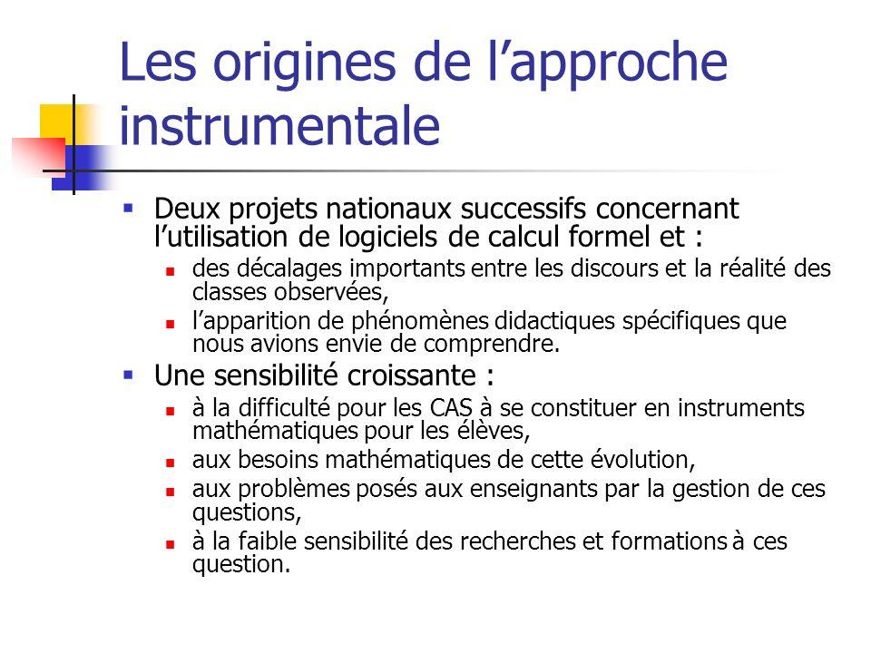 Les origines de lapproche instrumentale Deux projets nationaux successifs concernant lutilisation de logiciels de calcul formel et : des décalages imp