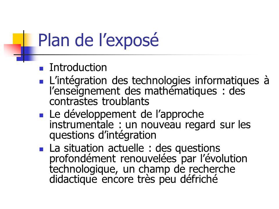 Plan de lexposé Introduction Lintégration des technologies informatiques à lenseignement des mathématiques : des contrastes troublants Le développemen