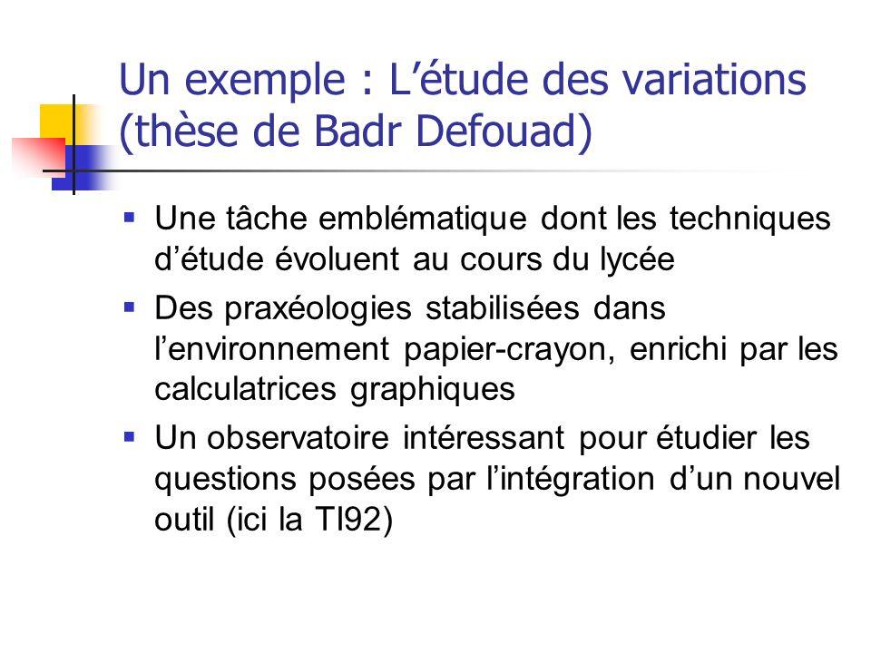 Un exemple : Létude des variations (thèse de Badr Defouad) Une tâche emblématique dont les techniques détude évoluent au cours du lycée Des praxéologi