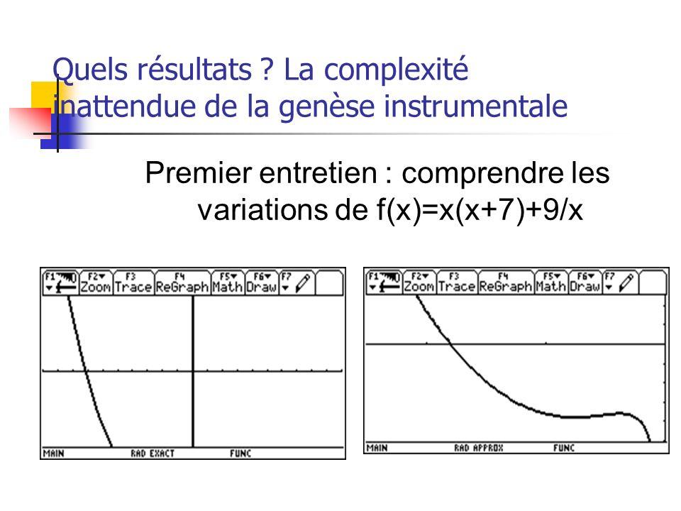 Quels résultats ? La complexité inattendue de la genèse instrumentale Premier entretien : comprendre les variations de f(x)=x(x+7)+9/x