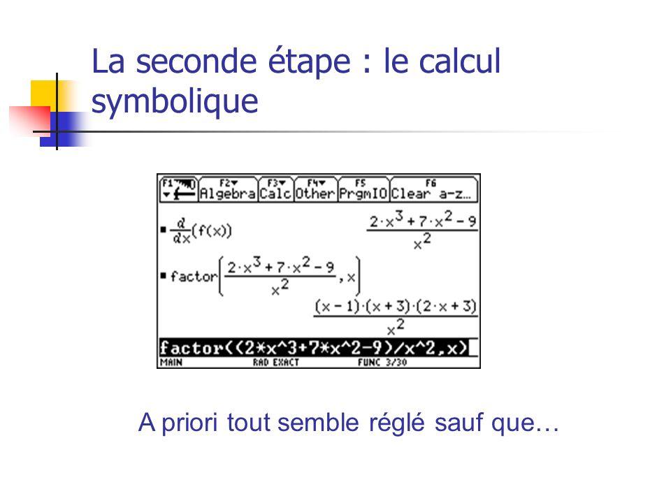 La seconde étape : le calcul symbolique A priori tout semble réglé sauf que…