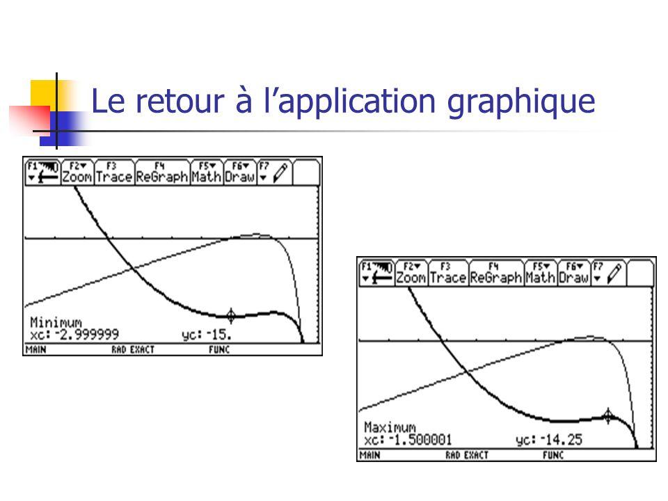 Le retour à lapplication graphique
