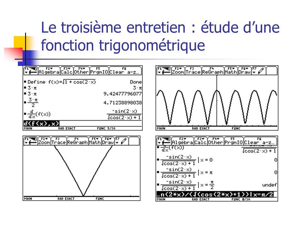 Le troisième entretien : étude dune fonction trigonométrique