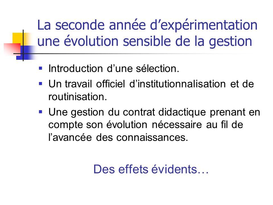 La seconde année dexpérimentation une évolution sensible de la gestion Introduction dune sélection. Un travail officiel dinstitutionnalisation et de r