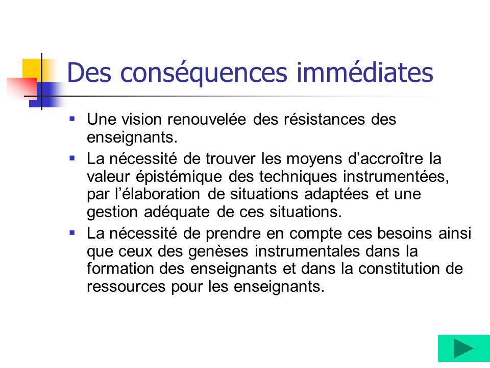 Des conséquences immédiates Une vision renouvelée des résistances des enseignants. La nécessité de trouver les moyens daccroître la valeur épistémique