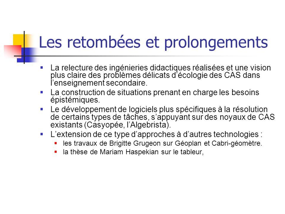 Les retombées et prolongements La relecture des ingénieries didactiques réalisées et une vision plus claire des problèmes délicats décologie des CAS d