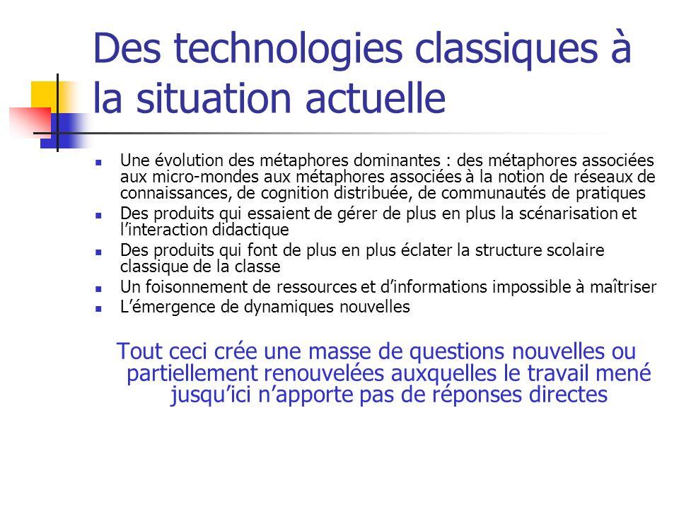 Des technologies classiques à la situation actuelle Une évolution des métaphores dominantes : des métaphores associées aux micro-mondes aux métaphores