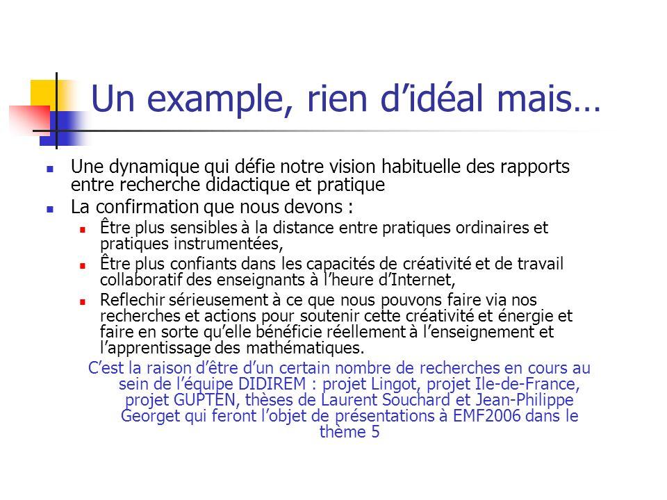 Un example, rien didéal mais… Une dynamique qui défie notre vision habituelle des rapports entre recherche didactique et pratique La confirmation que