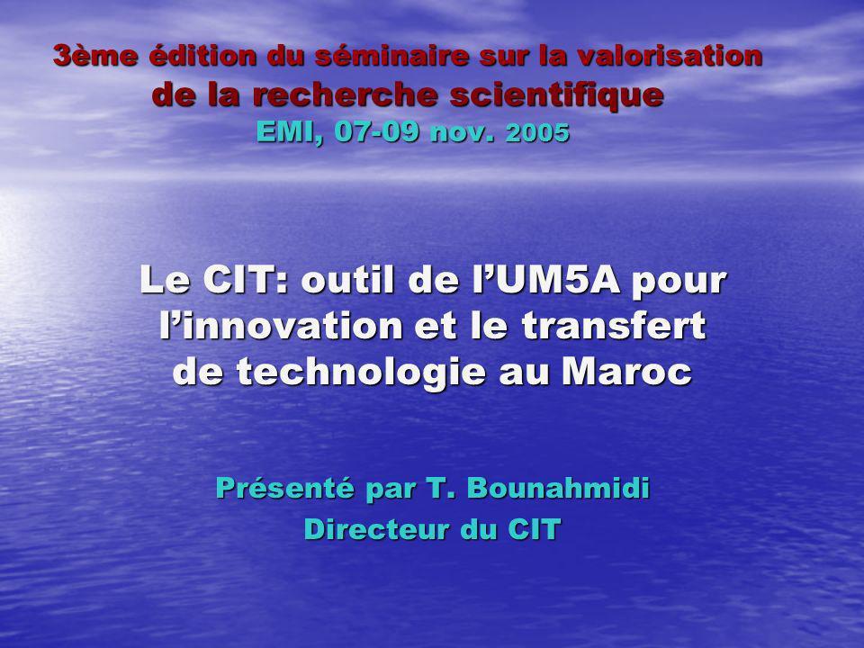 3ème édition du séminaire sur la valorisation de la recherche scientifique EMI, 07-09 nov.