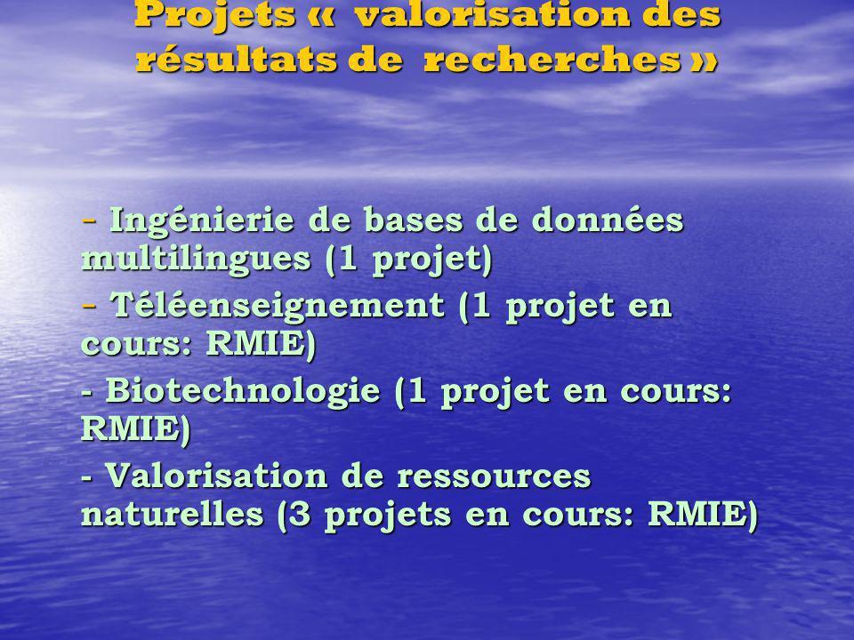 Projets « valorisation des résultats de recherches » - Ingénierie de bases de données multilingues (1 projet) - Téléenseignement (1 projet en cours: RMIE) - Biotechnologie (1 projet en cours: RMIE) - Valorisation de ressources naturelles (3 projets en cours: RMIE)