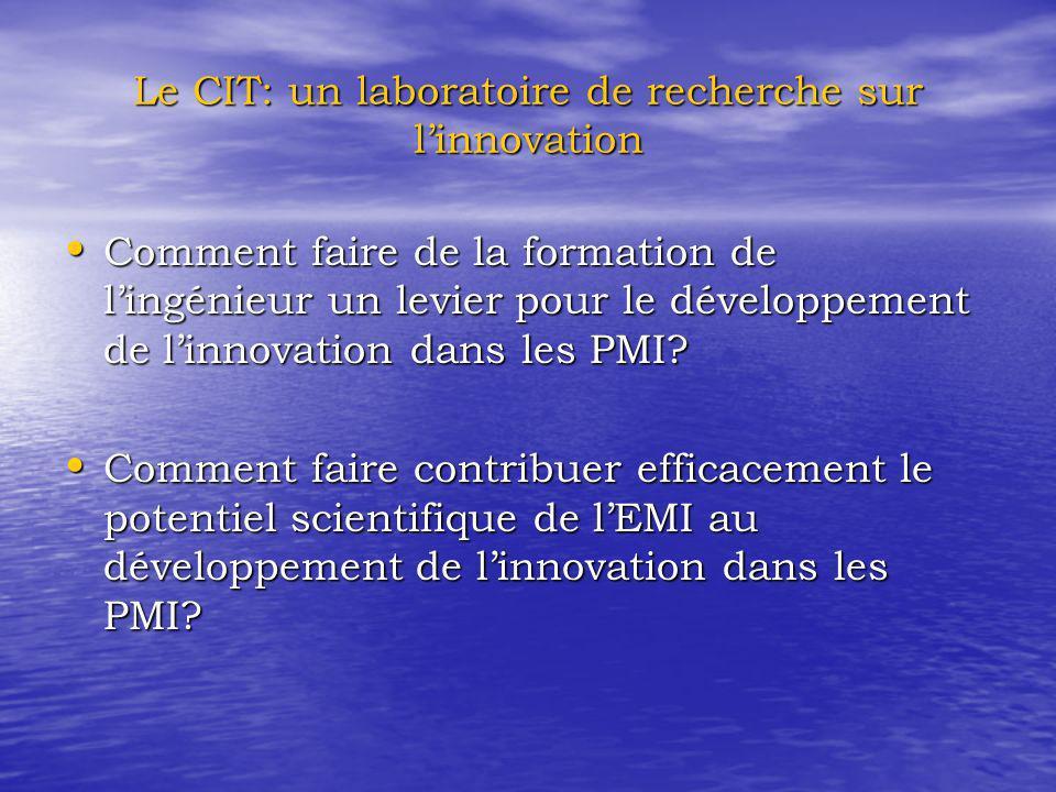 Le CIT: un laboratoire de recherche sur linnovation Comment faire de la formation de lingénieur un levier pour le développement de linnovation dans les PMI.
