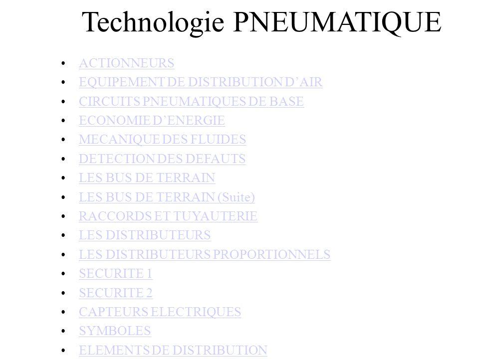 Technologie PNEUMATIQUE ACTIONNEURS EQUIPEMENT DE DISTRIBUTION DAIREQUIPEMENT DE DISTRIBUTION DAIR CIRCUITS PNEUMATIQUES DE BASE ECONOMIE DENERGIE MECANIQUE DES FLUIDES DETECTION DES DEFAUTS LES BUS DE TERRAIN LES BUS DE TERRAIN (Suite) RACCORDS ET TUYAUTERIE LES DISTRIBUTEURS LES DISTRIBUTEURS PROPORTIONNELS SECURITE 1 SECURITE 2 CAPTEURS ELECTRIQUES SYMBOLES ELEMENTS DE DISTRIBUTION