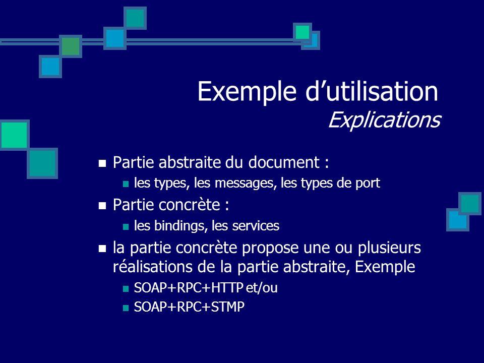 Exemple dutilisation Explications Partie abstraite du document : les types, les messages, les types de port Partie concrète : les bindings, les servic