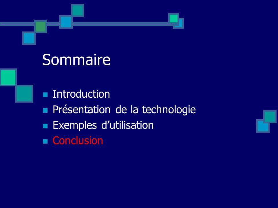 Sommaire Introduction Présentation de la technologie Exemples dutilisation Conclusion