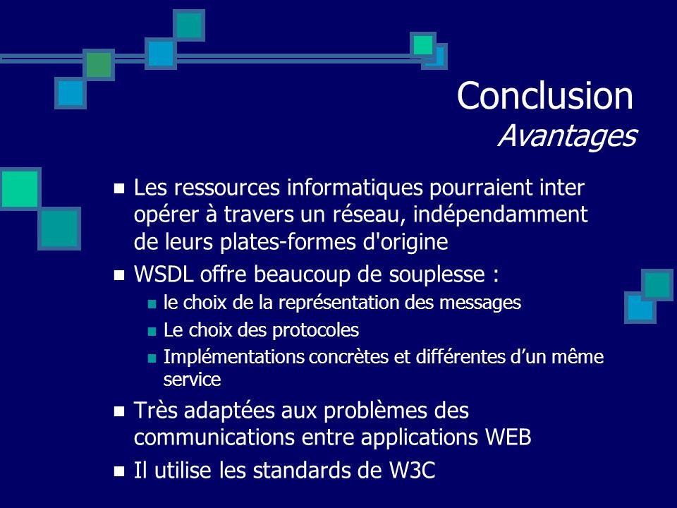 Les ressources informatiques pourraient inter opérer à travers un réseau, indépendamment de leurs plates-formes d'origine WSDL offre beaucoup de soupl