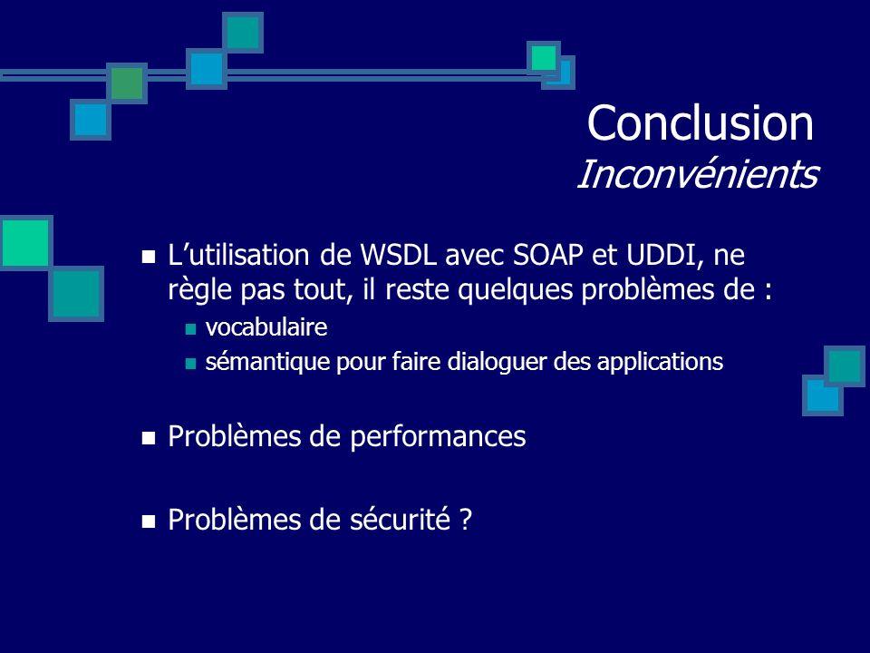 Conclusion Inconvénients Lutilisation de WSDL avec SOAP et UDDI, ne règle pas tout, il reste quelques problèmes de : vocabulaire sémantique pour faire